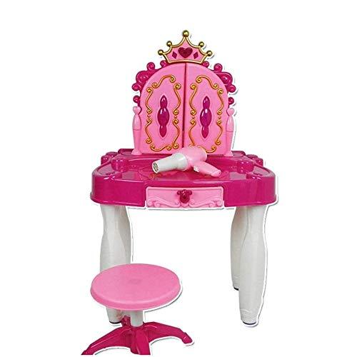 WJMLS Jouer à Faire Semblant, Enfants Vanity Table et chaises avec la Mode et Maquillage Accessoires de beauté (Color : Pink, Size : 72 * 44 * 8cm)