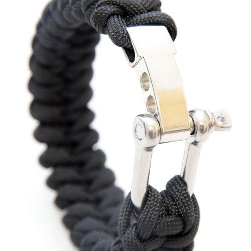 Ganzoo Bracelet Paracord 550, Fermeture en métal, Universel, Outil de Survie, Noir