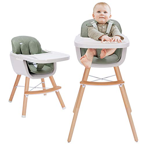 3-in-1 Baby High Chair with Adjustable Legs, Dishwasher Safe Tray, Wooden High Chair Made of Sleek Hardwood & Premium Leatherette, Ideal for Small Apartment,Green