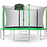 Merax 12FT Trampoline with Safety Enclosure Net, Basketball Hoop and Ladder - BV Certificated – Basketball Trampoline (12 Feet)