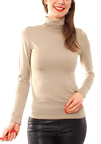 Easy Young Fashion Damen Thermo Microfaser Rollkragen Langarm Shirt Uni Beige XS 34 (S)
