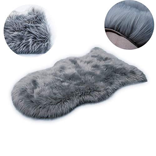 HLZDH oveja de piel sintética Felpudo alfombra Antideslizante Lujosa Suave Lana artificial Alfombra para salón dormitorio baño sofá silla cojín (Gris, 120 X 75 CM)