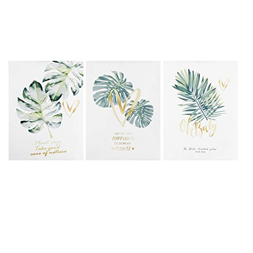 3 stks Nordic Stijl Gewoon Groene Planten Bladeren met Letters Muur Schilderen Kern Decor Schilderen Foto