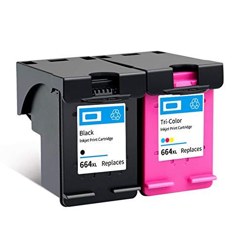 SSBY Cartuchos de Tinta remanufacturados de Repuesto para HP 664 664XL, para Impresora HP Deskjet Ink Advantage 1115 1118 2135 2136 2675 5075 5275 3635 3636 3638.-1Black+1Tri-Colour ✅