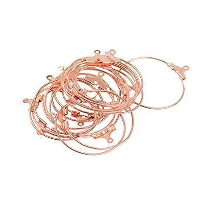 Baoblaze 20Pcs Wine Glass Charm Rings Earring Beading Hoop Loop Earring Earwire Hook for DIY Women Girls Earring Findings, 25mm - Rose Gold