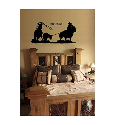 Paard Rodeo Team Roping Vinyl muur Decal Truck Trailer Paard Rider Jongen Teen Gepersonaliseerde Naam Decal College Dorm Kamer Decor Cowboy Cowgirl