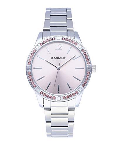 Reloj analógico para Mujer de Radiant. Colección Shiny Pastels. Reloj de Brazalete Plateado con Esfera Rosa y pedrería Rosa en el Bisel. 3ATM. 38mm. Referencia RA566202.