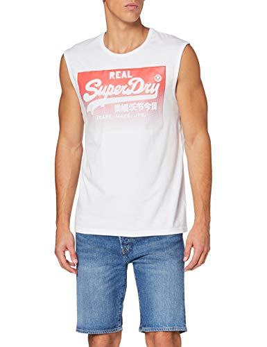 Superdry VL Halftone Emboss Vest Camiseta sin Mangas, Blanco (Optic 01c), XS para Hombre