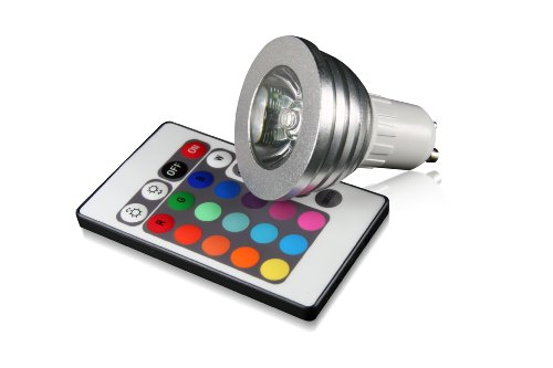 Technaxx RGB LED Lampe GU10 4 Watt, multicolor (farbwechsel), dimmbar, mit Infrarot-Fernbedienung [Energieklasse A]