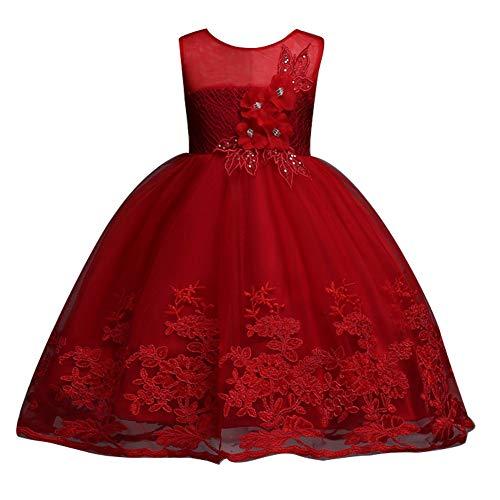 Puseky Abiti da Sera Senza Maniche con Abiti da Principessa in Costume da Ragazza (Color : Wine Red, Size : 5Y-6Y)