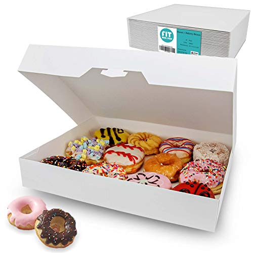 "[18 Pack] 15x11.5x2.25"" White Bakery Box - Holds 12 Donuts, Auto-Popup Cardboard Gift Packaging and Baking Containers, Cookies, Brownies, Pastry and Bread Boxes"
