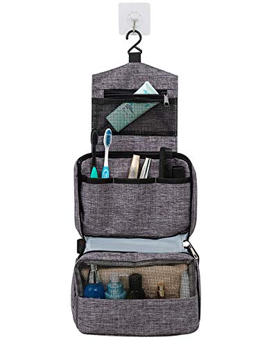Dodolly Travel Hanging Toiletry Bag for Men and Women with Expandable Compartments for Cosmetics, Makeup Brushes, Jewelry, Shaving Tools Waterproof Bathroom Bag