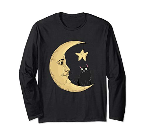 Vintage Halloween Beistle Cat on the Moon Horror Gift Langarmshirt