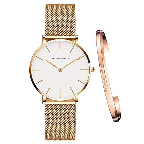 yuge CB36-WJJ-SZA - Reloj de pulsera para mujer, mecanismo de cuarzo, sencillo, impermeable, color oro rosa, malla de acero inoxidable, reloj de mujer
