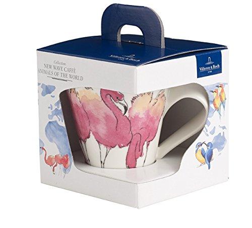 Villeroy & Boch NewWave Caffè Rosa Flamingo Becher mit Henkel Eisvogel, Kaffeebecher mit Animal-Print aus Premium Porzellan, 300 ml