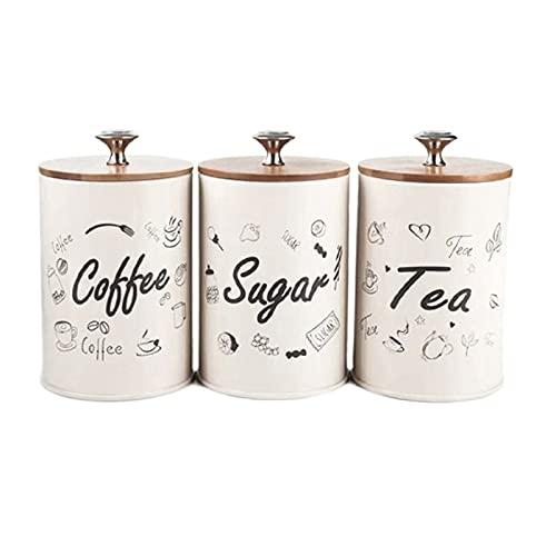 3pcs Coperchio in legno Grower Erestight Canister, Bottiglie di stoccaggio da cucina Vasetti contenitore alimentare, contenitori per il cibo ermetico tè caffè zucchero chicchi di caramelle vaso di car