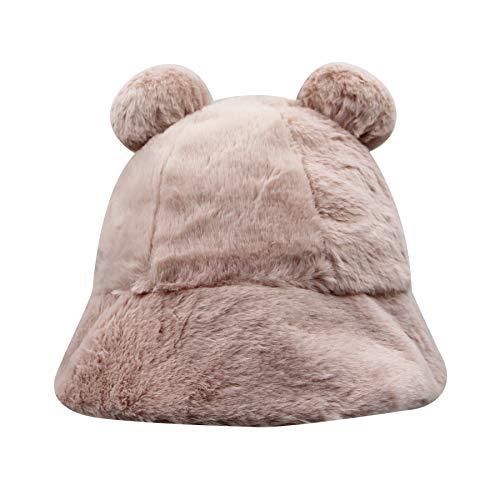 BOLLEY JOSS Women Leopard Faux Fur Bucket Hat Warm Fluffy Winter Fisherman Hat Cute Cloche Cap with Pompom Ears for Girls Pink