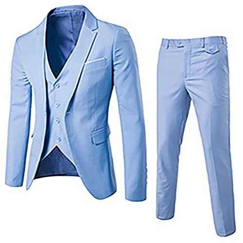 Kamao 3 pezzi/set Blazer Uomo Giacca Elegante + Pantaloni+ Panciotto Gilet Formale Basse Slim Fit...