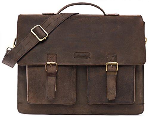 LEABAGS Arbeitstasche/Aktentasche/Lehrertasche/Dokumententasche aus echtem Leder - Vintage -Miami-Muskat