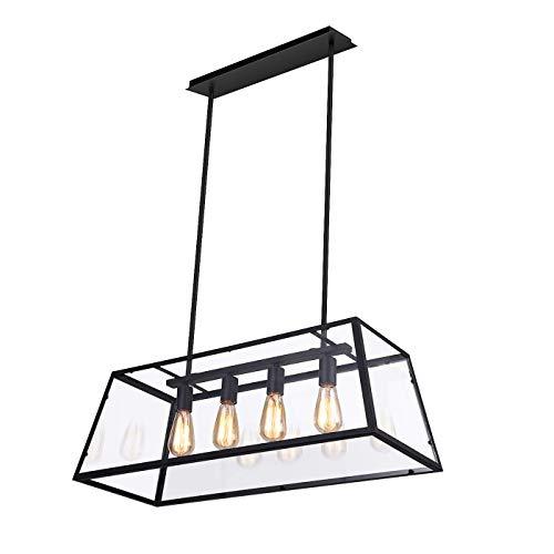 Kitchen Island Light 4-Light Linear Pendant Island Lighting Adjustable Hard Rod Transparent Acrylic Panel Included E26 Bulbs
