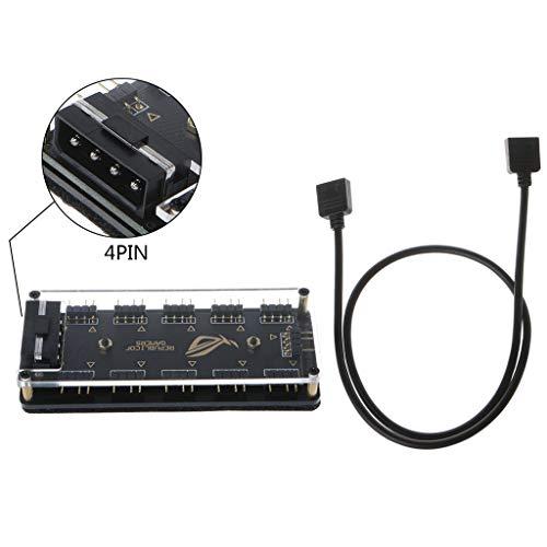 Abcidubxc Adaptador De Corriente SATA, Aura Sync 5V 3-Pin RGB 10 Hub Y Cable para Gigabyte MSI A Sus
