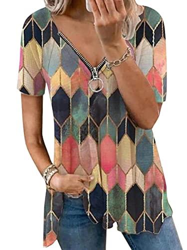 Onsoyours Mujer Camiseta Moda Estampado Geométrico Retro Manga Corta Cuello de Pico la Parte Superior Blusa Casual Suelta T-Shirt Verano Tops Blusas Camisa B Estampado-1 XL