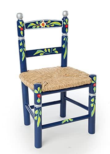 Eco Silla y Descanso, Silla Infantil, Decorada artesanalmente y Pintada a Mano. Color Azul Asiento de Enea. 4 Colores Disponibles. Medidas Fondo 0,30 x Ancho 0, 34 x Alto 0,60 ctms.