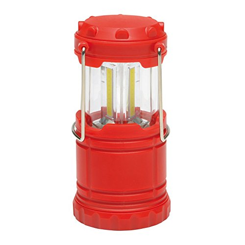 Campinglampe mit 3 helle COB Leuchtstreifen Campingleuchte Camping Zelt Laterne Ø6,8 x 9,7-13,7 cm Zeltlampe 166 Gramm (Rot)