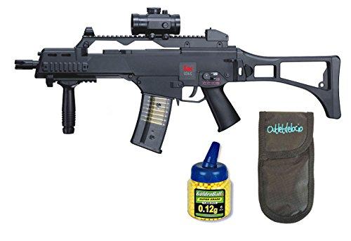 Outletdelocio. Pack Rifle Airsoft HK G36C AEG Electrico. Calibre 6mm. + Funda Portabalines...