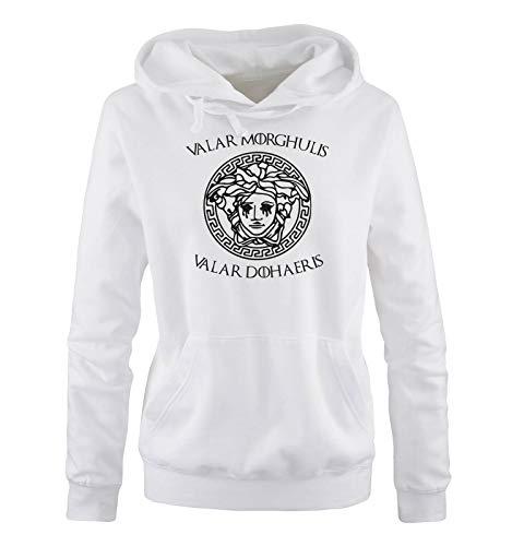 Preisvergleich Produktbild Just Style It - Valar Morghulis / Dohaeris II - Damen Hoodie - Weiss / Schwarz Gr. M