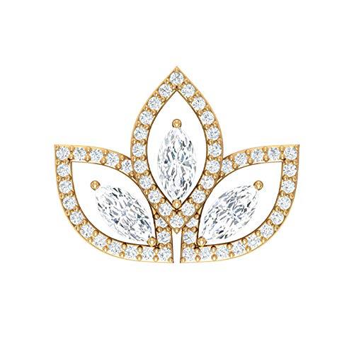 Pendiente de cartílago vintage, certificado SGL 1.15 ct, con forma de marquesa, pendientes de diamante, halo trepador, joyería corporal, Oro amarillo Espalda plana, Única pieza 8.5mm
