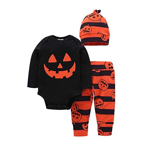 Bebe Nio Halloween Disfraz My First Halloween Monos de Manga Larga + Pantalones a Rayas + Sombrero (24 Meses, Black)