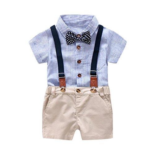 Culater 2018 Nuova Estate Appena Nata RagazziGentleman Clothes T-Shirt a Manica Corta Bowtie + Pantaloncini in Tinta Unita 2 Pezzi per Bambini Baby Boys (24 Mesi, Blu)