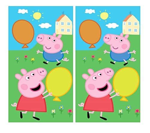 Theonoi 2 x Kinderhandtuch Handtuch Kinder Gästehandtuch Gesichtstuch Waschlappen Baumwolle Geschenk (Peppa Pig)