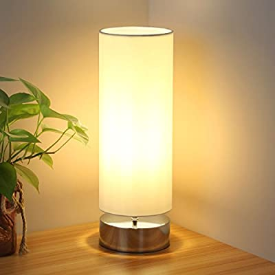 Touch Control Table Lamp Bedside Minimalist Desk Lamp Modern Accent Lamp Dimmable Touch Light with Cylinder Lamp Shade Night Light Nightstand Lamp for Bedroom Living Room Kitchen, E26 Bulb Included