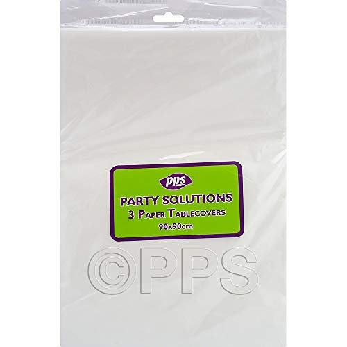 3 PACK WHITE PAPER TABLE COVERS - 90cm x 90cm table cloths