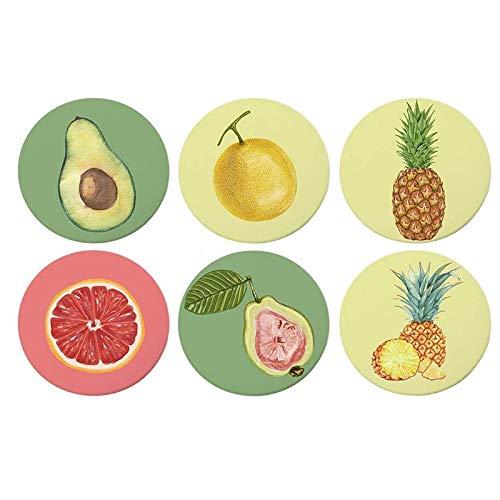 GEEKEN Posavasos Redondos para Bebidas Absorbentes, 6 Posavasos con ProteccióN de Corcho contra RasguuOs para Tazas y Vasos, PatróN de Frutas