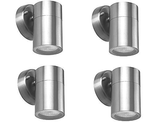 4x Hochwertige Edelstahl-Außen-Wand-Leuchte-Lampe BORNHOLM 1 flammig Unterlicht Fassung Gu10 max. 35W, H: 9 -12cm, D: 6cm, Halterung D: 8,5cm, IP44, Balkon-Terrassen-Eingangs-Leuchte-Lampe-Strahler-Spot