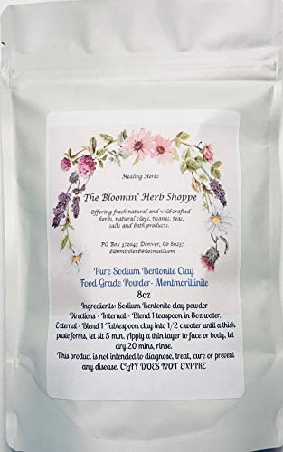 Sodium Bentonite Clay Montmorillonite Fine Powder 8oz   Food Grade   Mined in Big Horn Wyoming Detox   The Bloomin Herb Shoppe White Label Herbs   (Montmorillinite)   Water Washed no Chemicals