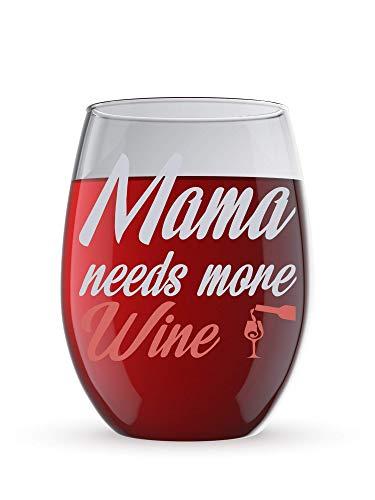 Mama Needs More Wine Funny - Copa de vino sin tallo de cristal de 325 ml – Divertidas copas de vino con refranes regalos para mujeres, ella, mamá en el día de la madre o Navidad
