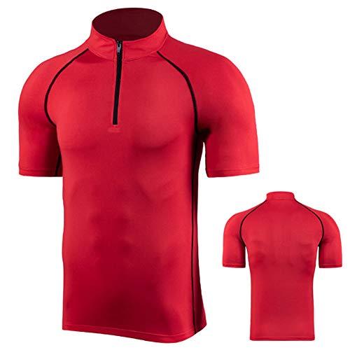 XIYAN - Ropa de fitness de manga corta para hombre, de alta elasticidad y de secado rápido, ropa de correr de pie con media cremallera casual deportiva, deportivo, entrenamiento de manga corta, color rojo, L