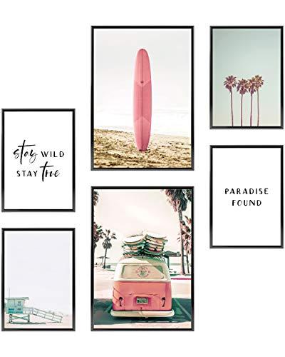 Heimlich® Premium Poster Set | OHNE Bilderrahmen | Stilvolles Set mit passenden Bilder als Wohnzimmer Deko | 2 x DIN A3 & 4 x DIN A4 - ca. 30x42 & 21x30 | » Surfer Beach «