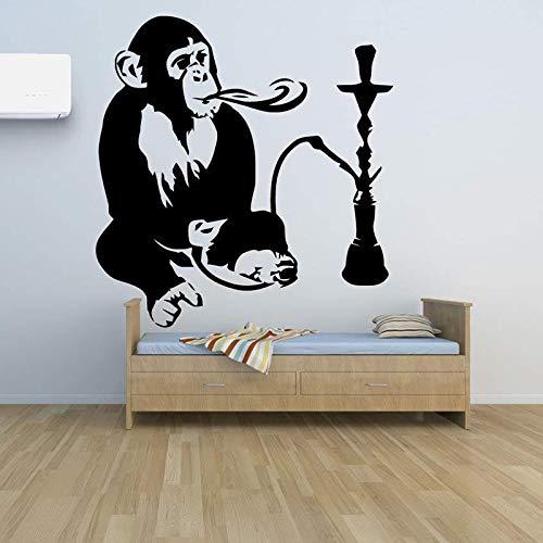 JXAA Mono y cachimba calcomanía de Vinilo decoración del hogar decoración cachimba relajación árabe Pegatinas de Pared extraíble Mono Divertido Mural AZ42x45cm