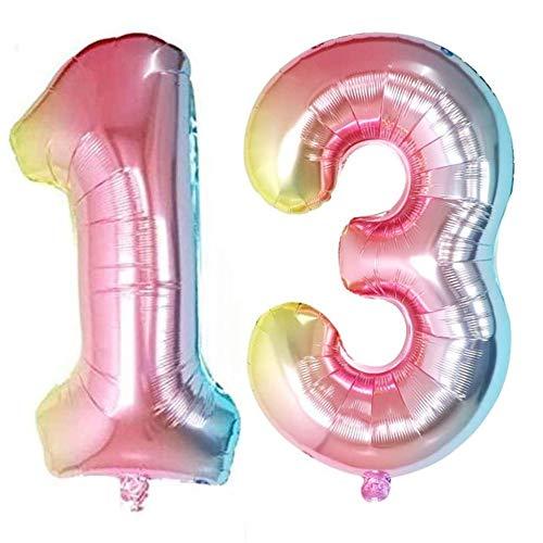 DIWULI, XXL Zahlen-Ballons, Zahl 13, Schillernde Regenbogen Luftballons, Zahlenluftballons, Folien-Luftballons Nummer Jahre, Folien-Ballons 13. Geburtstag, Hochzeit, Party, Dekoration, Geschenk-Deko