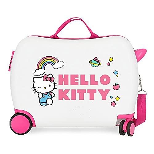 Hello Kitty You are Cute - Valigia per bambini, colore: bianco, 50 x 38 x 20 cm, rigida in ABS, chiusura a combinazione laterale, 34, 1,8 kg, 4 ruote, bagaglio a mano