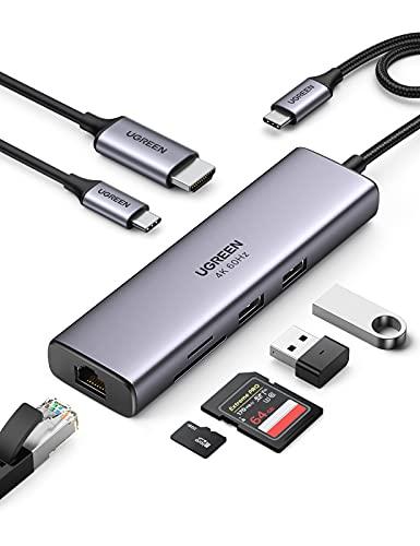 UGREEN Hub USB C, Adaptador USB C Hub a 4K 60Hz HDMI, Gigabit Ethernet RJ45, Lector Tarjeta SD TF, USB 3.0 Hub, 100W PD Carga Compatible con Macbook Pro Air 2020, DELL XPS, Chromecast con Google TV