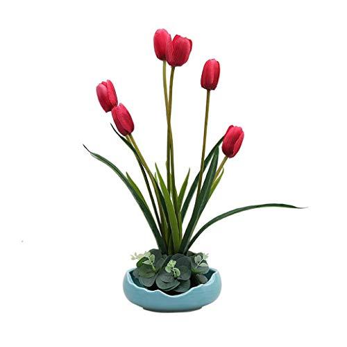 Getrocknete blumen Nordic Simulations-Blumen-Set-Fälschungs-Blumen-Keramik-Vase Dekoration, Heim Wohnzimmer Tisch Artificial Magnolia Blumenschmuck, künstliche gefälschter Blumentopf künstliche blumen