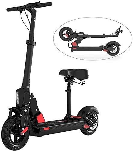 YYhkeby Scooter eléctrico Plegable - Motor 350WATT - Rango de 35km / hy 30-40km - Plegable - 36V / 10AH Scooter eléctrico Negro, con Asiento Jialele