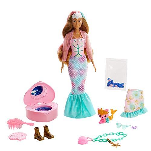 Barbie Color Reveal Sirena, muñeca sorpresa con accesorios de moda, pulsera de juguete y mascota sorpresa (Mattel GXV93)