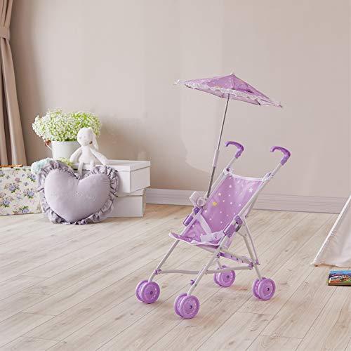Olivia\'s Little World- Twinkle Stars Princess Cochecito de muñeca, Color Purple/White (Teamson OL-00005)